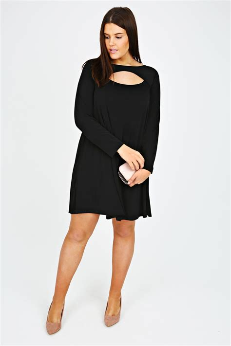 plus size swing tunic black swing tunic dress with cut out detail plus size 14