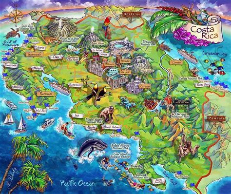 detailed map of costa rica detailed tourist illustrated map of costa rica vidiani