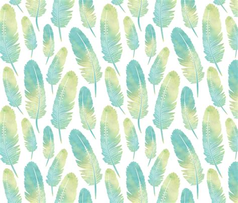 watercolor feather pattern watercolor boho feathers pattern green and blue fabric