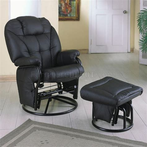 Black Leatherette Modern Glider Chair W Ottoman