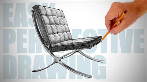 How To Draw 3d Furniture by How To Draw Barcelona Chair Easy Perspective Drawing 16