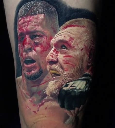 nate diaz tattoo nate diaz conor mcgregor on fan s leg done by