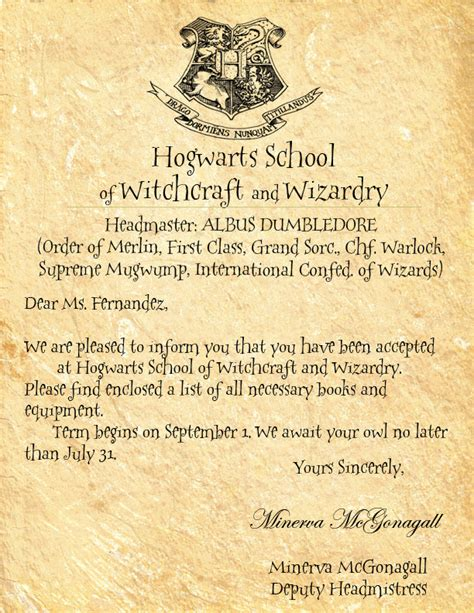 Acceptance Letter For Hogwarts School Of Witchcraft And Wizardry Hogwarts Letter By Crescentmoon18 On Deviantart