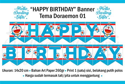 Banner Happy Birthday Hitam Putih jual doraemon flag banner ulang tahun happy birthday bunting hello gifts