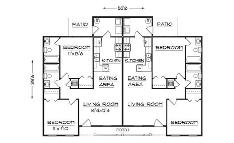 Duplex Blueprints | simple small house floor plans duplex plan j891d floor