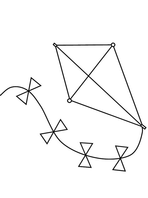 Kite Outline Picture by Free Printable Kite Coloring Pages For