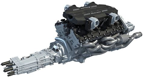 Lamborghini Aventador Transmission by V12 Engine With Transmission 3d Model