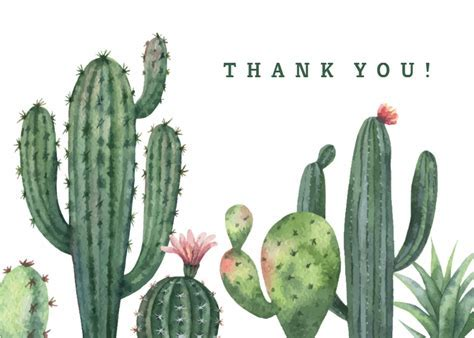 Cactus   Thank You Card Template (Free)   Greetings Island