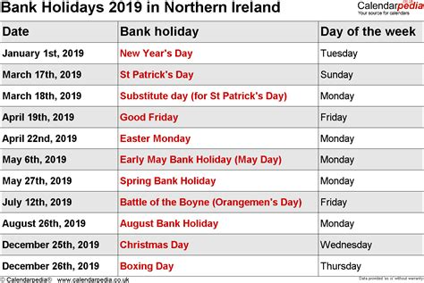 Calendar 2019 With Holidays Uk Bank Holidays 2019 In The Uk