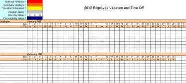 pto calendar template employee vacation tracking excel template