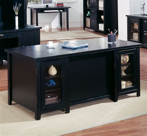 Black Office Desk Tribeca Loft Black Pedestal Executive Desk