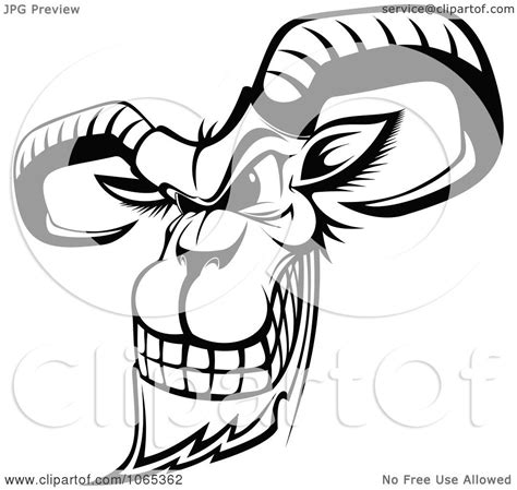 clipart outlined evil goat royalty free vector