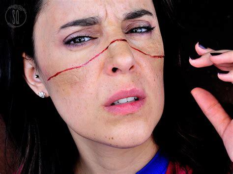 cara cortada tutorial maquillaje fx efecto cara cortada con cable para