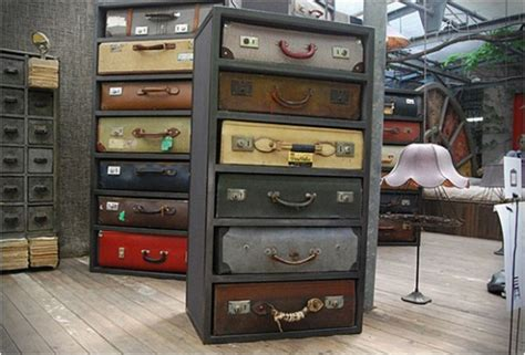 Refurbishing Kitchen Cabinet Doors by Vintage Suitcases Repurposed As Uniquely Awesome Drawers