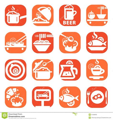 Color food icon set stock vector. Image of breakfast