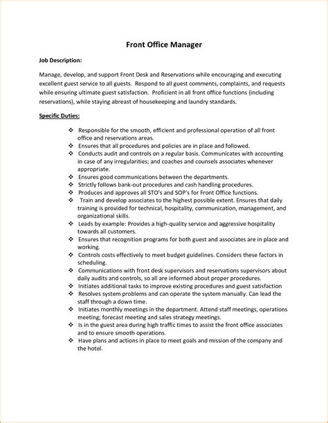 front office manager resume sle front desk description 28 images sle front