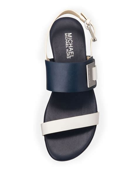 blue and white flat shoes lyst michael michael kors giuliana flat sandal in blue