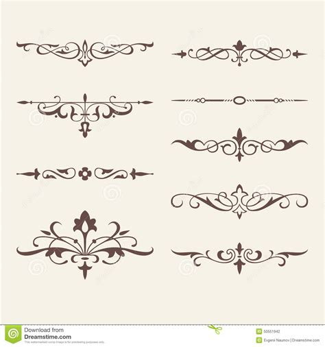 invitation card design elements curled calligraphic design elements for logo stock vector