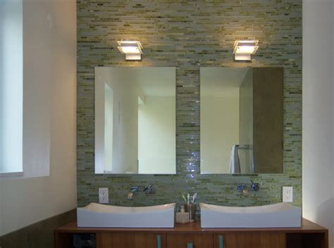 mirrored bathroom tiles how were mirrors mounted on tile wall is there tile behind the mirrors
