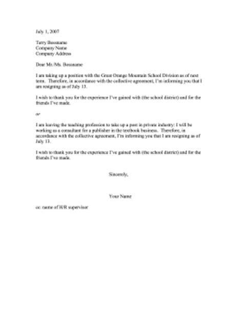 teacher resignation