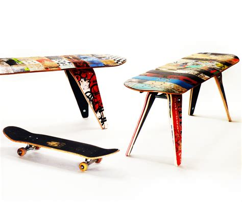 Modern Skateboard Furniture Skateboard Bench 60 Three Seater Modern Recycled