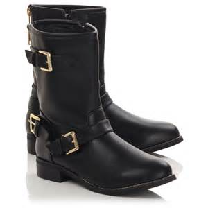 womens black ankle biker boots