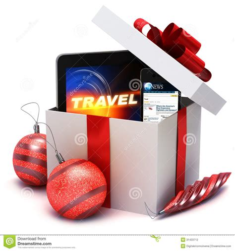 holiday present with electronic gifts stock illustration