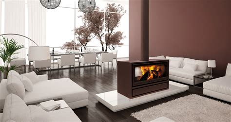 Small Modern Living Room Ideas by Jide Double Sided Wood Burning Stove For Open Plan Rooms