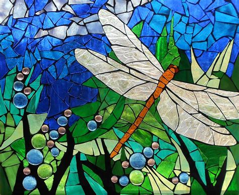 Sculpture Home Decor by Mosaic Stained Glass Golden Brown Dragonfly Glass Art By