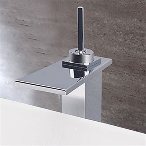 bathroom sink water contemporary chrome finish water fall stainless steel