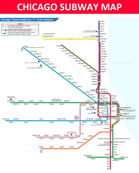 chicago map subway chicago subway map lines stations and interchanges