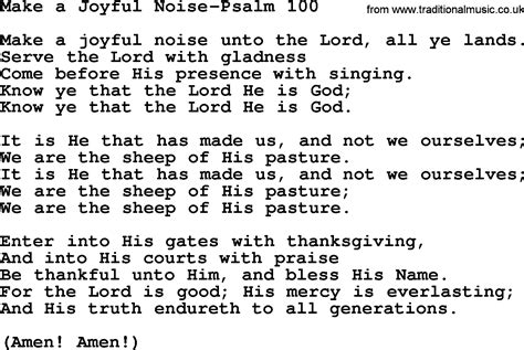a joyful noise praying the psalms with the early church books hymns from the psalms song make a joyful noise psalm 100