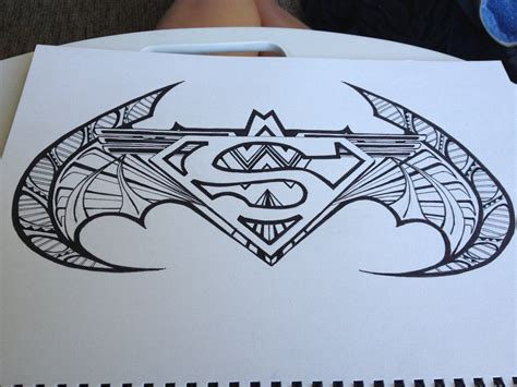 superman batman tattoo designs superman batman symbol design by drawmega