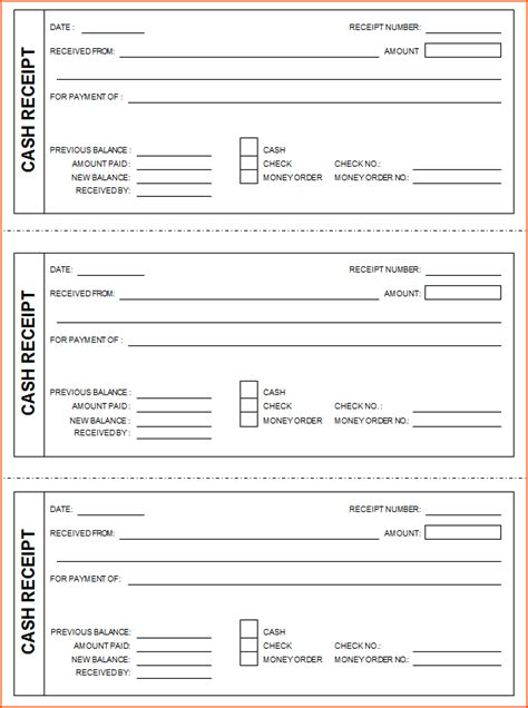 printable receipts templates 7 printable receipt bookletemplate org