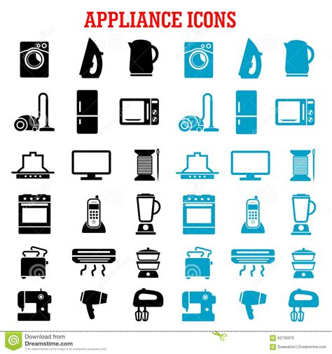 Play Kettle And Toaster Set Home Appliance And Equipment Flat Icons Stock Vector