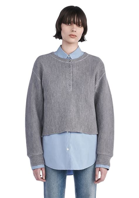 waffle knit henley wang waffle knit henley pullover top official site