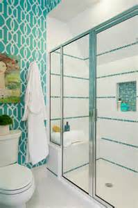 Bathroom Wallpaper Turquoise Shower With White And Turquoise Tiles Design Ideas
