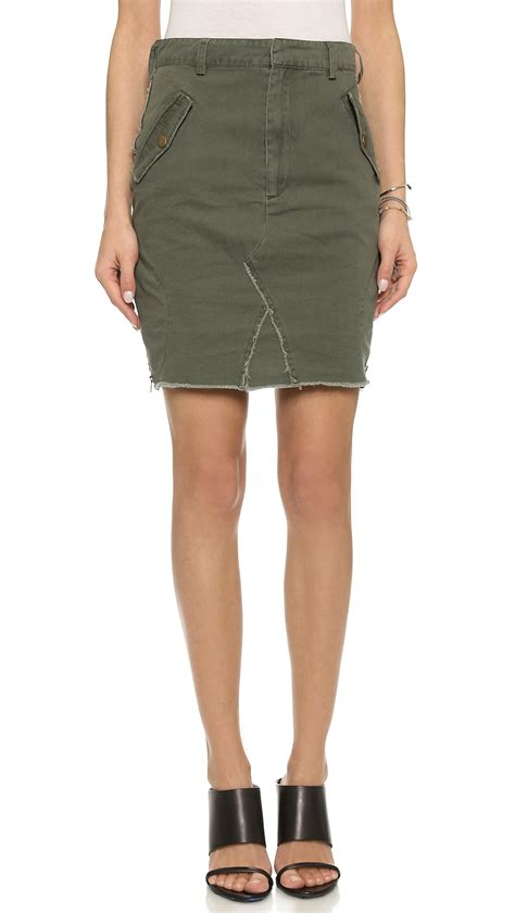 one teaspoon artillery pencil skirt khaki in green