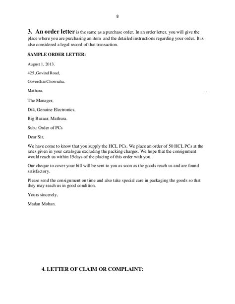 Purchase Order Response Letter Business Letters