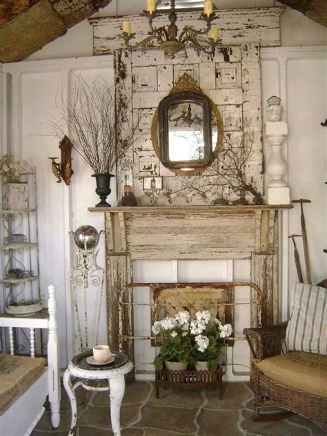 Vintage Shabby Chic Decorations - shabby fireplace shabby chic country cottage