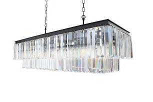 Kitchen Island Pendants Large Rectangular Chandelier With Hanging Glass Prisms By