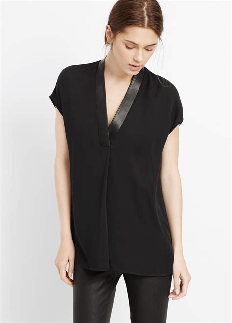 Glow Silk Vneck Top vince silk cap sleeve v neck top with leather trim in black lyst