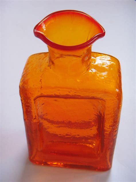 Large Orange Vase Large Orange Glass Vase Bottle American Scandinavian