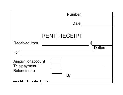 Rent Receipt Template Balance Due by A Set Of Four Identical Rent Receipts With Room To Note