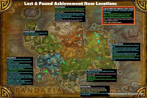 Master Of Many Treasures wow spawns lost and found achievement where to find
