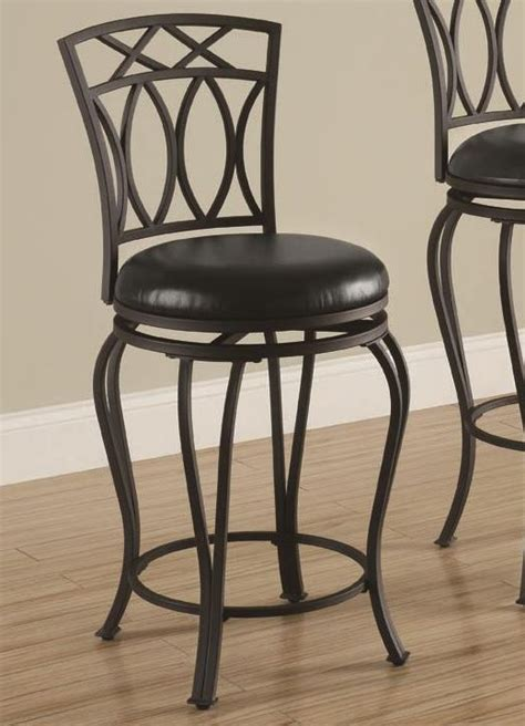 24 Black Metal Bar Stools by 24 Quot Metal Barstool With Black Faux Leather Seat
