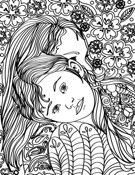 coloring pages for adults mom free printable mother daughter hugging adult coloring page