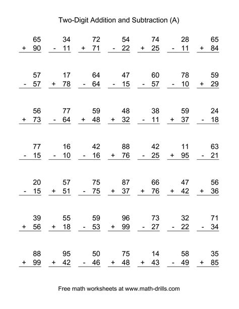 Addition And Subtraction Worksheets For Grade by Two Digit A