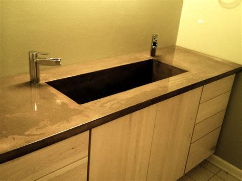 Concrete Countertops Bathroom Vanity Concrete Bath Vanity With Integral Sink Modern Vanity Tops And Side Splashes Atlanta By