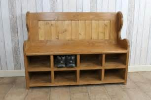 Dining Room End Chairs bench with shoe rack handmade in pine bespoke monks bench